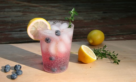 Blueberry Lemon Thyme Fizz drink in glass with blueberries, lemon, and thyme on the side
